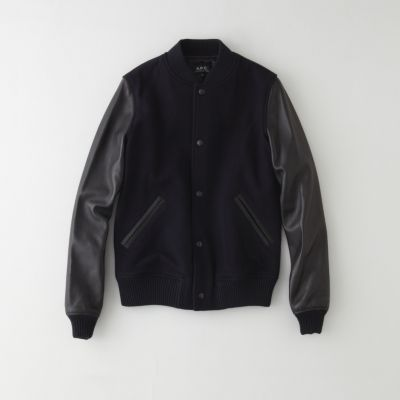 Bomber jacket in lightweight wool with black leather sleeves