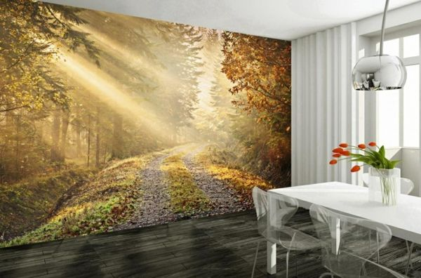 esszimmer wandgestaltung wald tapete Wandgestaltung - Tapeten - wandgestaltung mit tapeten