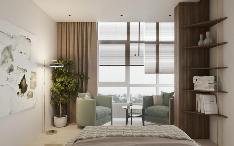 Schlafzimmer Sessel ~ Schlafzimmer pastellgrün sessel braune vorhänge jalousien