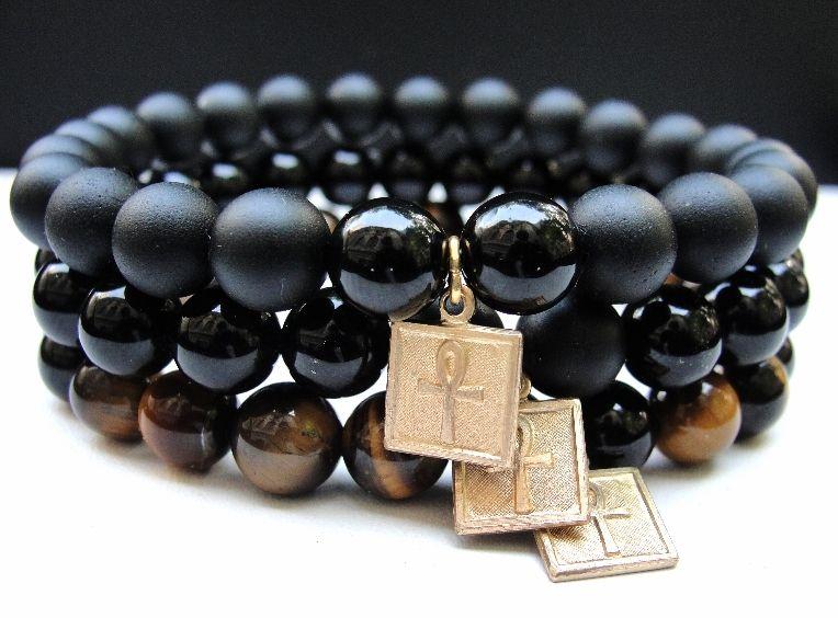 Boybeads Handmade Natural Stone Beaded Bracelets For Men Out Of Egypt Goldtone Ankh Black Onyx Tiger S Eye 8mm Bracelet Set