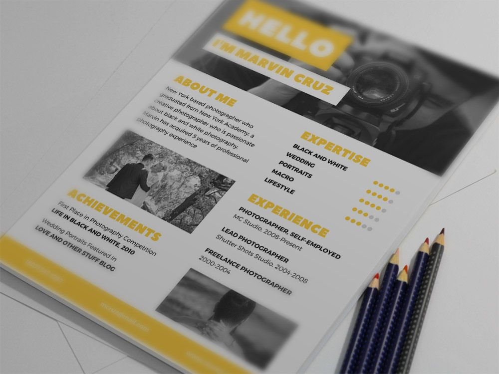 Free yellow photographer resume template with clean syle design for