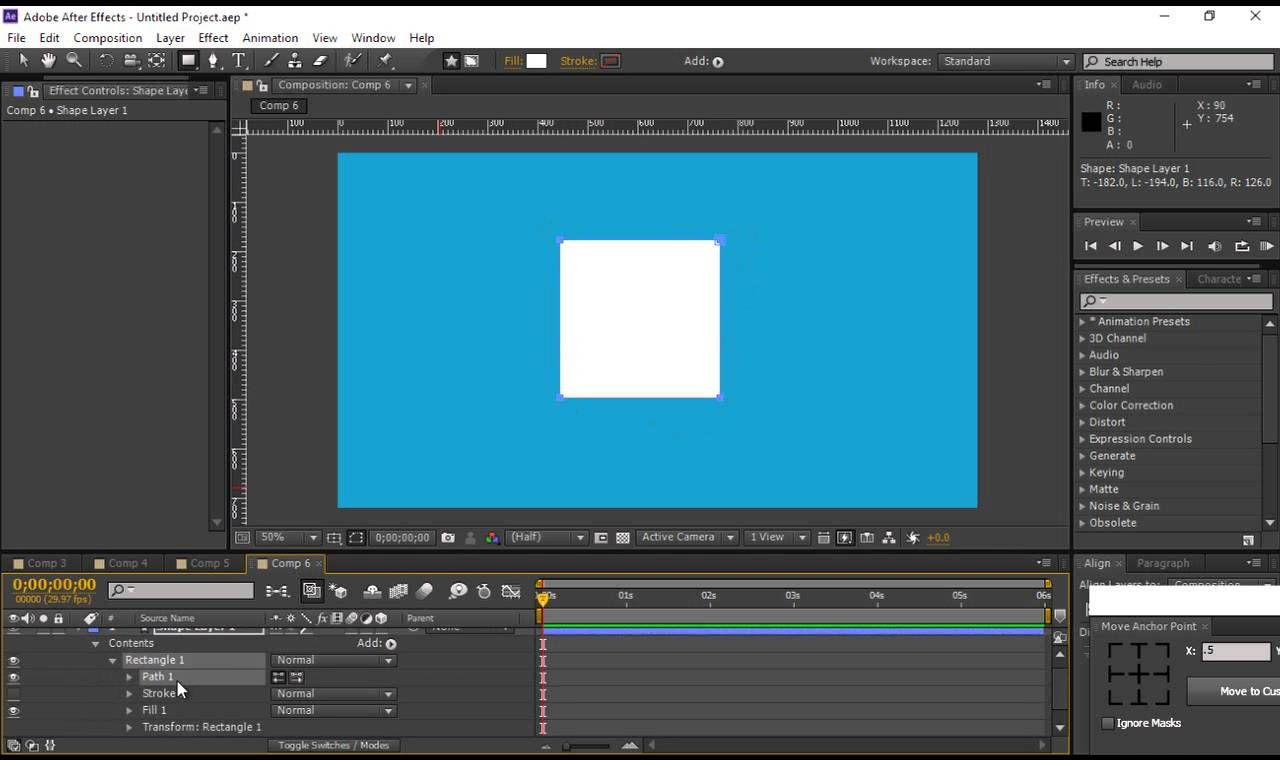 after effects cs6 converting a shape into a bezier path