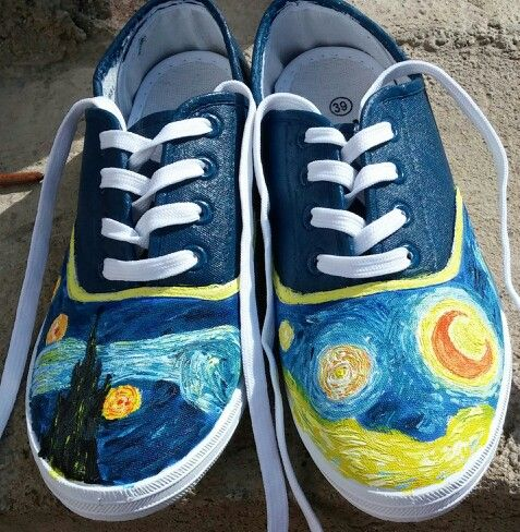 0483f838eaf DIY Van Gogh s Starry Night shoes. Inspired by the Doctor Who episode