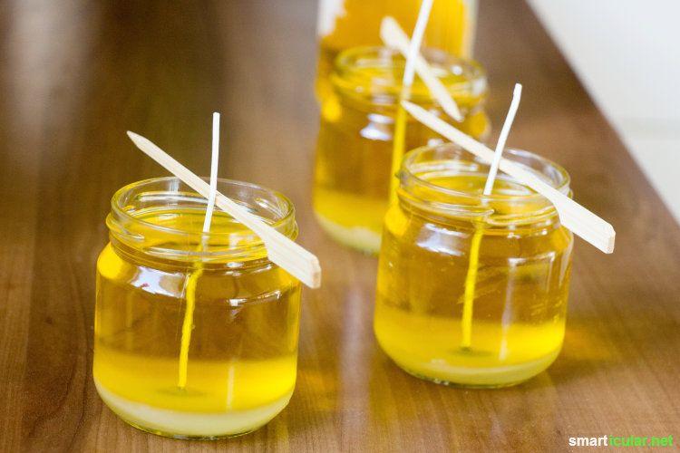 Citronella-Kerzen gegen Mücken ganz einfach selber machen #stoffresteverwerten