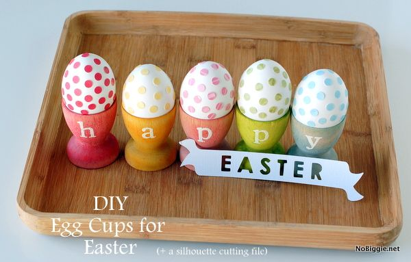 DIY stained egg cups (with free silhouette file) 25+ Easter and Spring Decorations