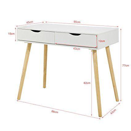 SoBuy® FWT40-WN Table de Bureau Informatique Secrétaire Table Plan - Table De Cuisine Avec Plan De Travail