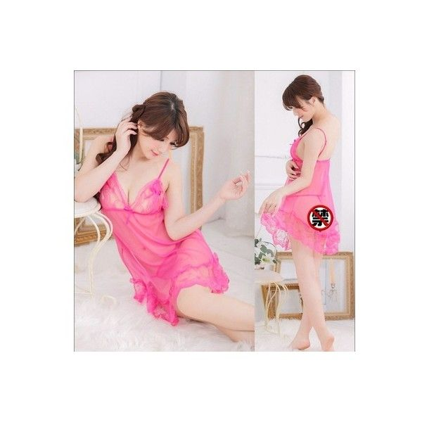 Cute Women Transparent Sexy Lingerie Nightgown Pajamas Set Rose Red L found on Polyvore