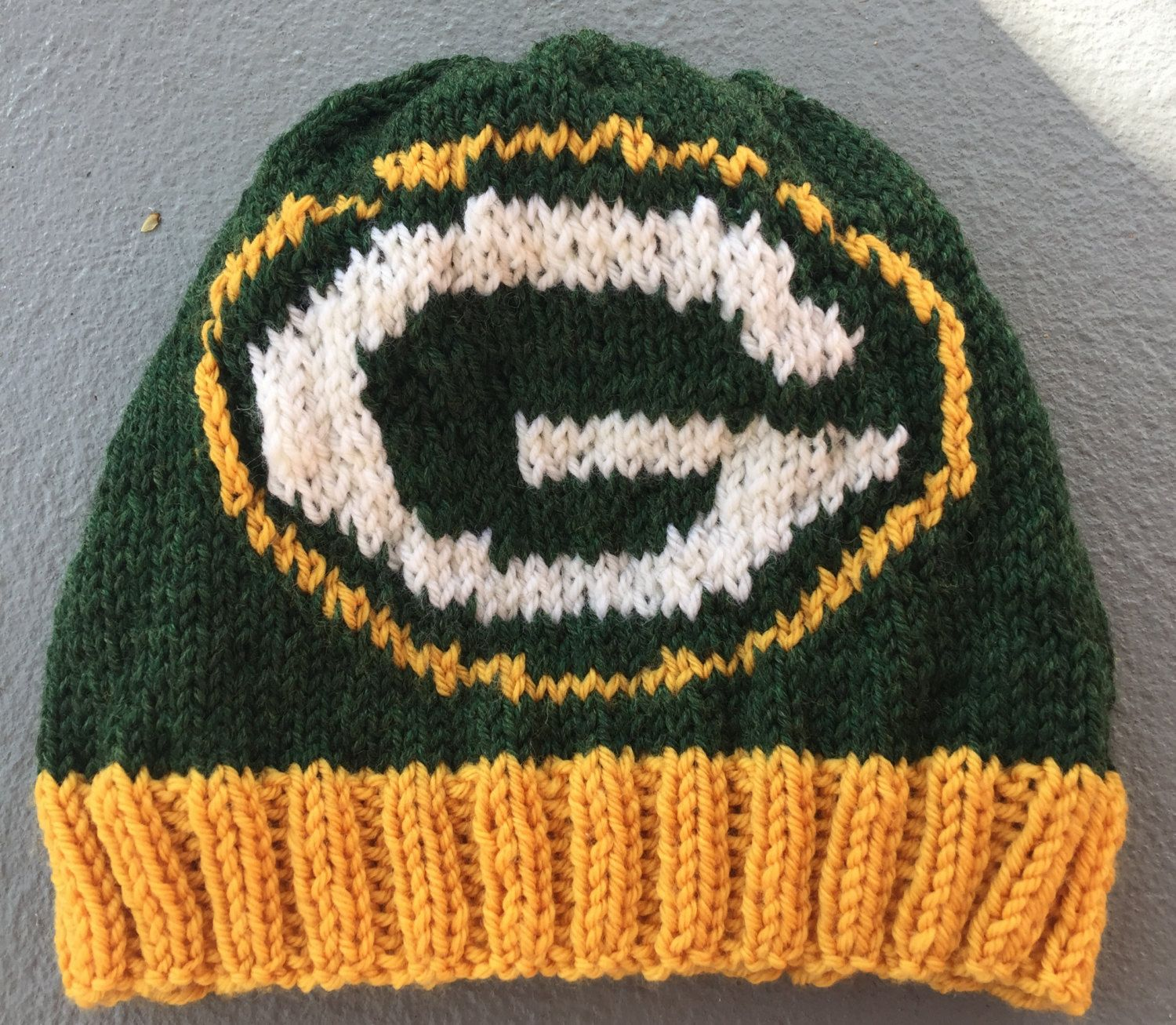 Green Bay Packers Logo Beanie Hat PATTERN - Ribbed Brim Intarsia ...