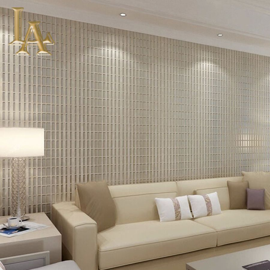Modern Minimalist Creamy White Khaki Plaid Wallpaper 3D Wall Paper Mosaics  Design Living Room TV Background