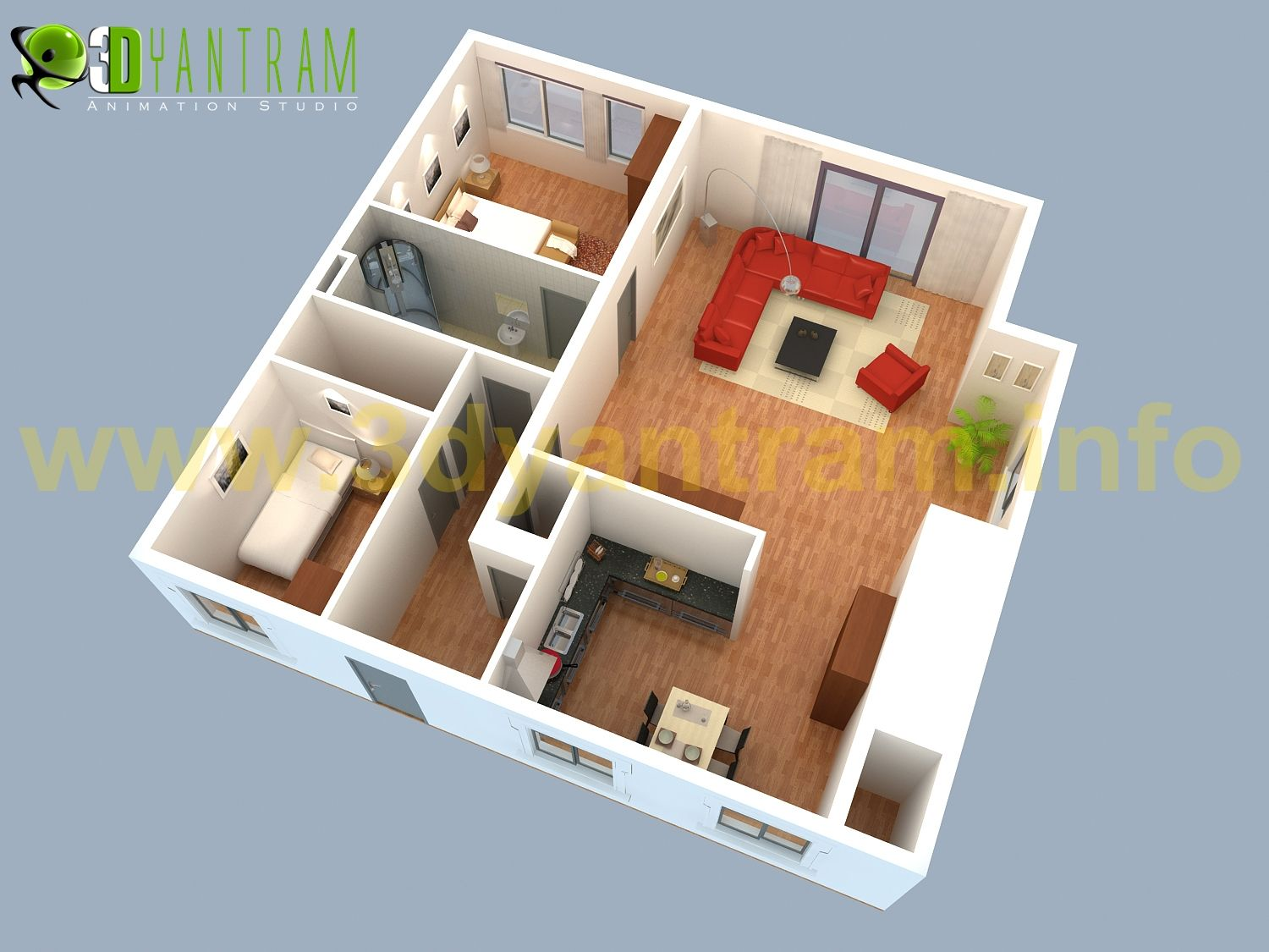 Small house 3d floor plan cgi turkey