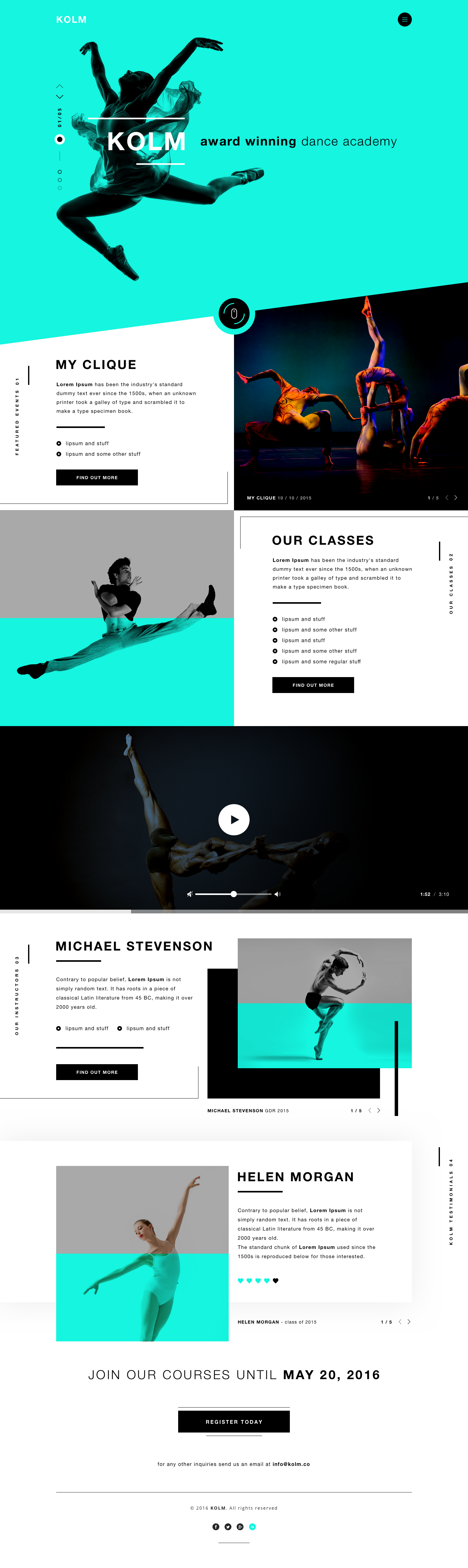 kolm dance academy website landing page dribbble v2 web u0026 ui