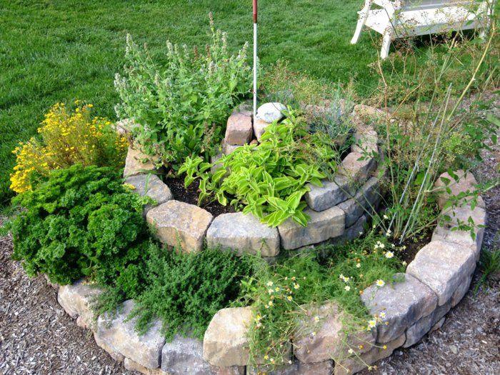 ideen für die kräuterschnecke bepflanzung Garten Pinterest - gartengestaltungsideen mit kies