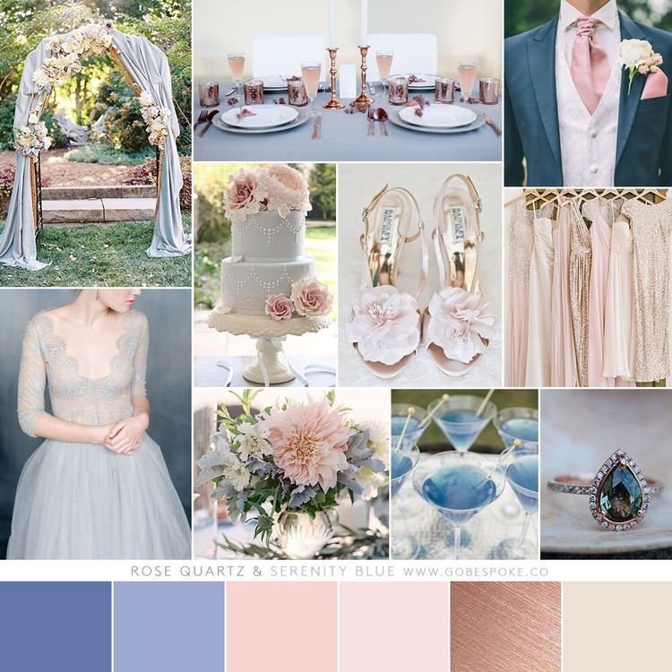 Wedding Color Palette Rose Quartz Serenity Blue Pink Blush Gold Winter Summer Spring Fall Go Bespoke