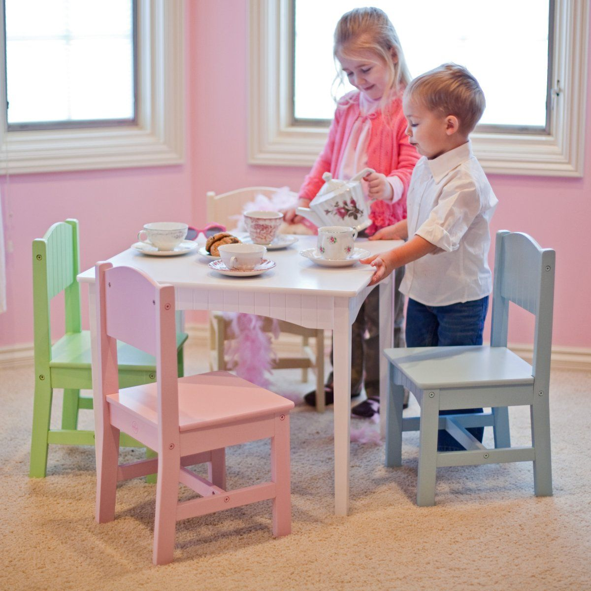 Kids Table Set Chairs Play Wood Activity Toddler Children 4 Chair Kidkraft  New. KidKraft Nantucket Pastel Table and Chair Set   Childrens Table