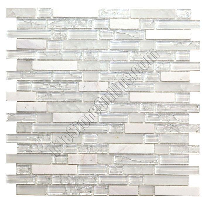 Sample Carrara White Marble Mint Glass Random Linear: 5/8 X Linear Strips Sticks Crackled