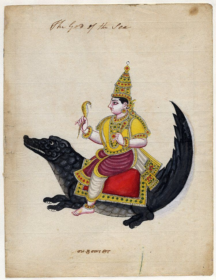 Gouache painting on paper (watermarked 1814) from a set of twelve paintings of deities. The deity Varuna sitting astride a makara (mythical creature) and holding a naga (a snake deity) in one hand and a pasha (a noose) in the other.