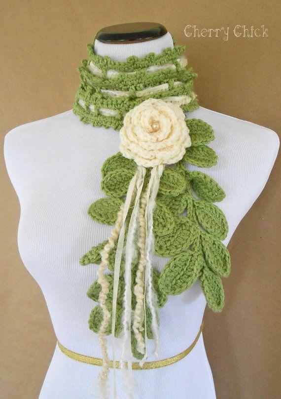 Hand Crocheted Rose Flower Scarf