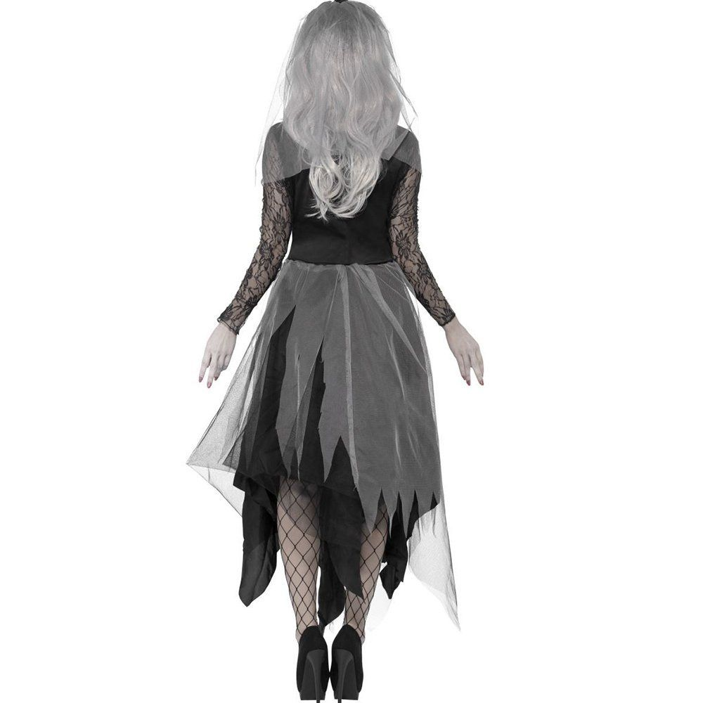 Womans Zombie Corpse Bride Costume Ladies Halloween Fancy Dress Black Widow