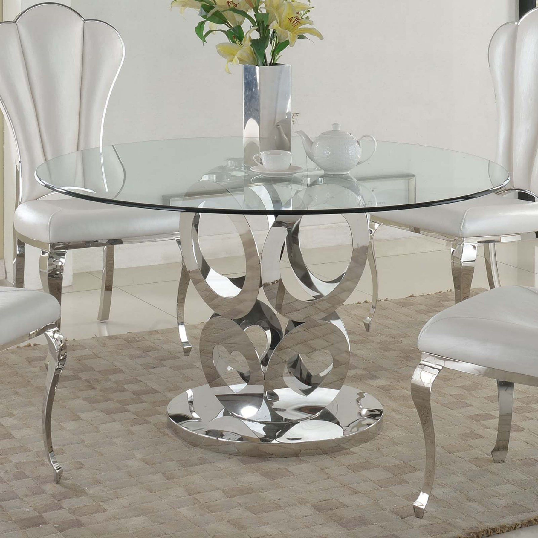 Chintaly Raegan Round Glass Topped Dining Table Cty2034 In 2020