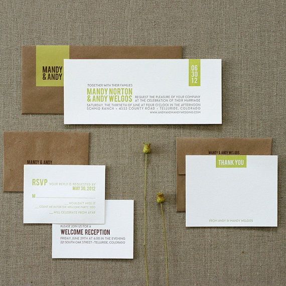 Wedding Invitation Sample Modern Rustic Kraft by SWEETletterpress - Sample Cards