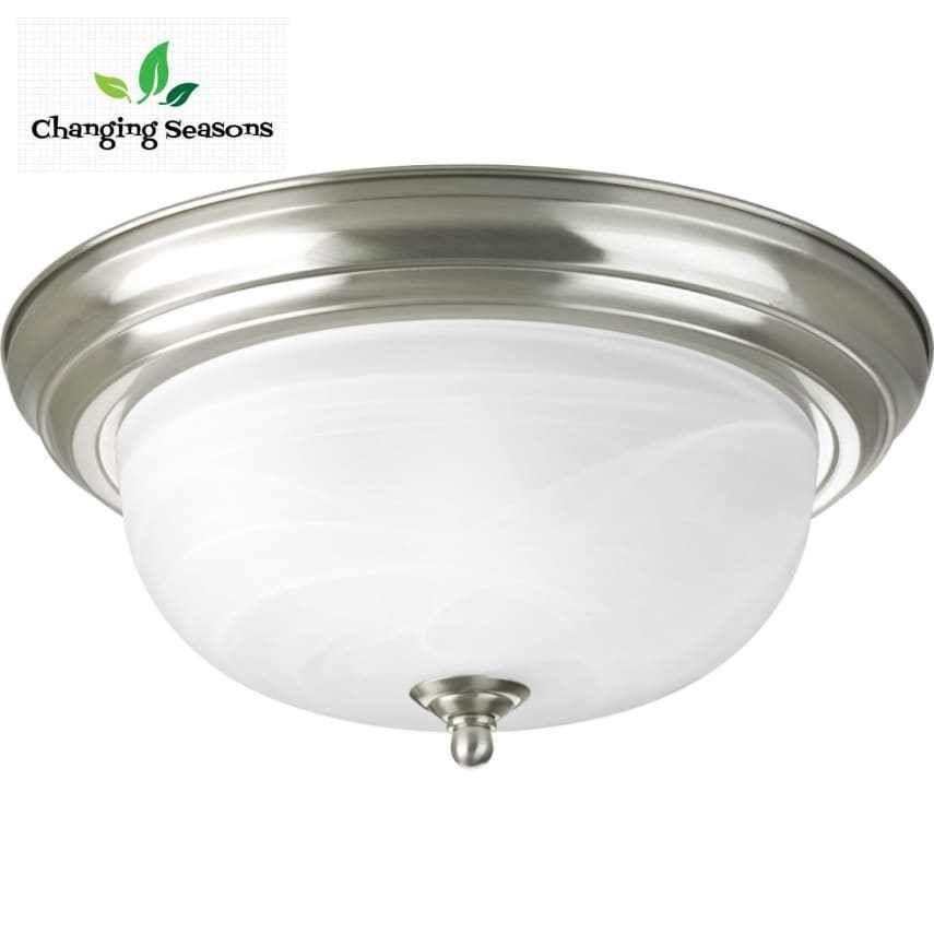 Flush Mount Lighting Fixture Uses 2 Bulbs Dome Shaped Glass With Nickel Finish Progresslighting