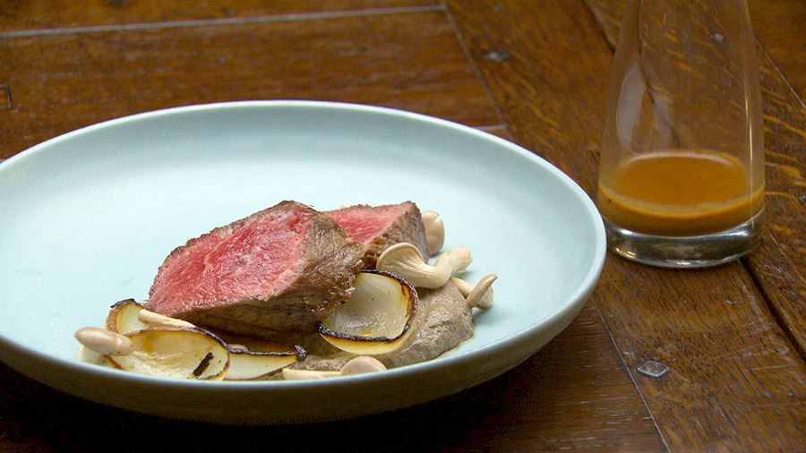 Seared Beef With Mushroom Puree And Charred Onions Recipe Beef With Mushroom Food Recipes Beef