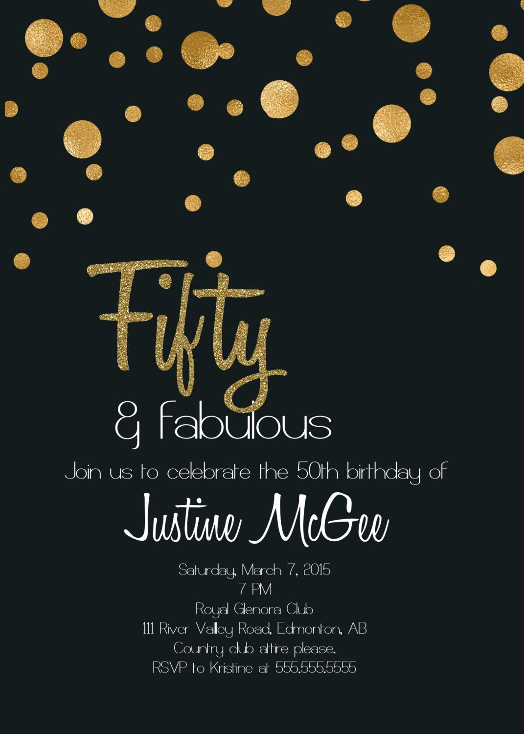 Classy Printable 50th Birthday Invitation With Gold Dots By Glassslipperdesigns On Etsy Double Click To View And Purchase