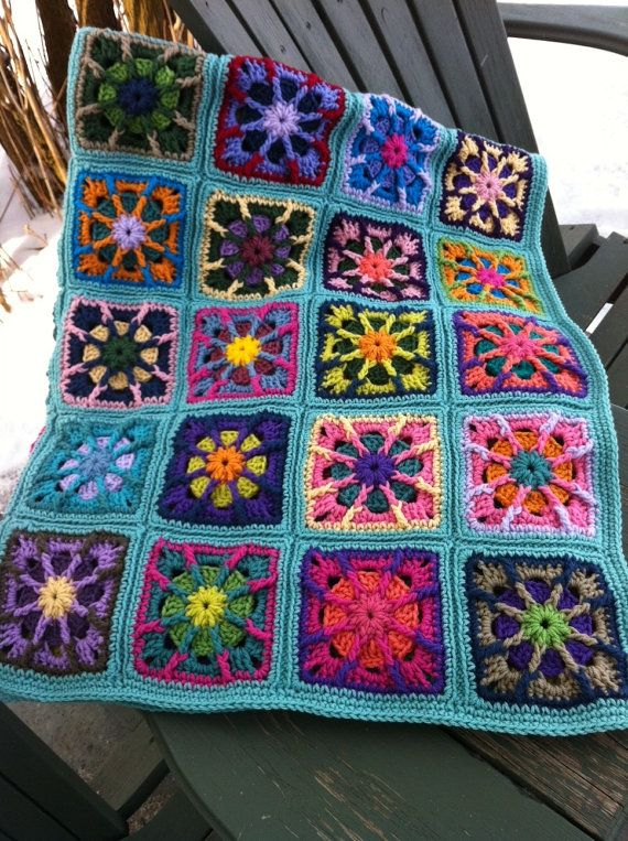 Crocheted afghan kaleidoscope granny squares multi-colored MADE TO ...