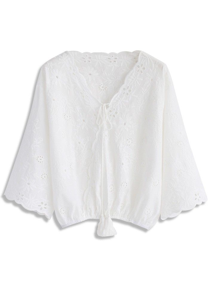 Chase Your Floral Dreams Embroidered Top in White - New Arrivals - Retro, Indie and Unique Fashion