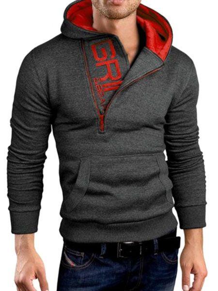 e563bc7719a Sweat-shirt à capuche Slim généraux Hoodie pour les hommes en  rouge gris marine noir