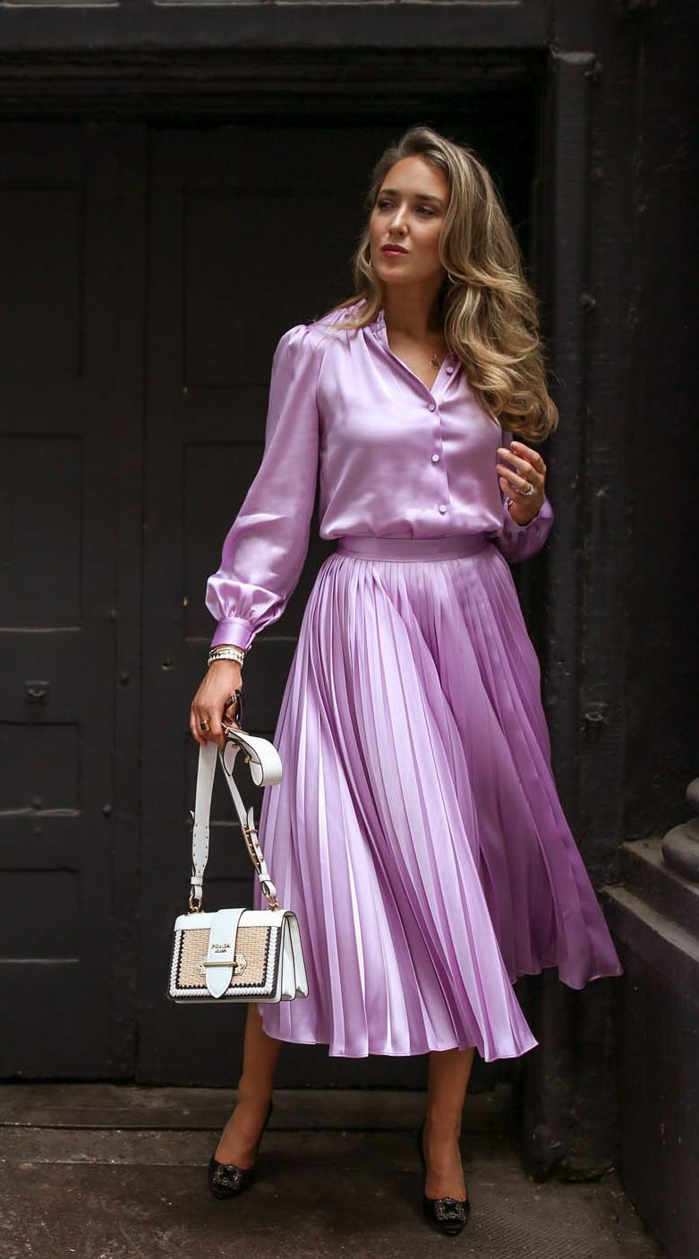 ac31a99602 Lilac satin blouse and skirt | Later in 2019 | Fashion, Blouse ...