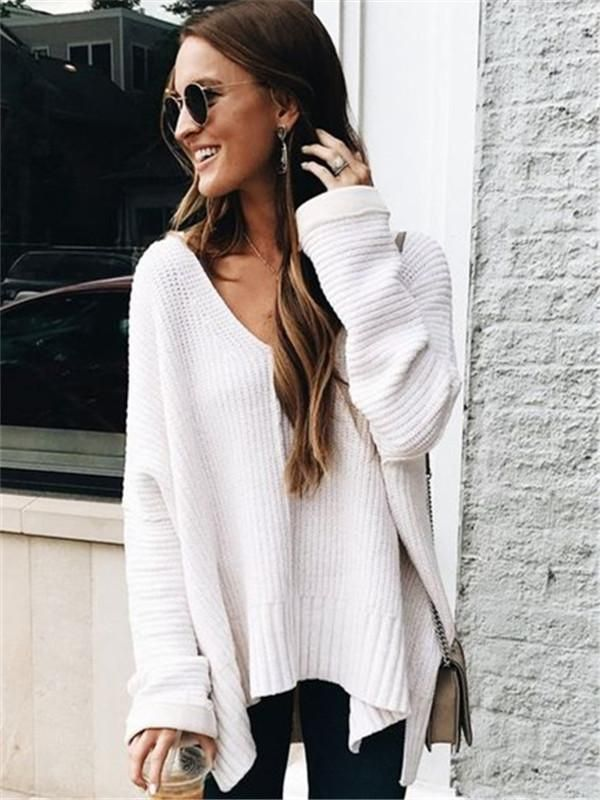 3a08f3f95b Chellysun Casual Deep V Neck Knit Cozy oversized sweaters outfits for fall  and winter cute chunky sweater cardigans for teens  sweater  outfits   outfitideas ...