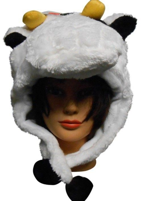 ac4c882fe56 Adult Size Yellow Horned White Cow Winter Hat