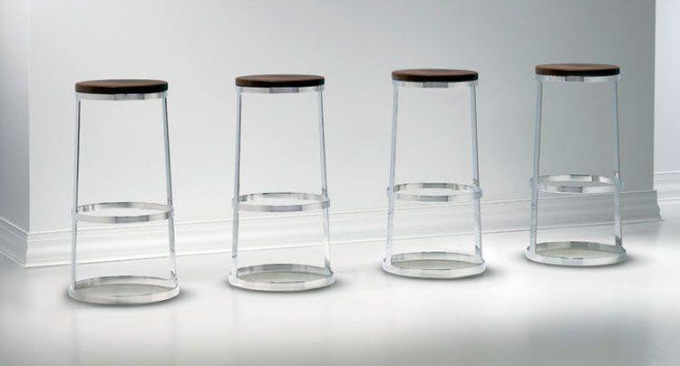 Sgabello moderno per cucina base in acciaio cromato idfdesign