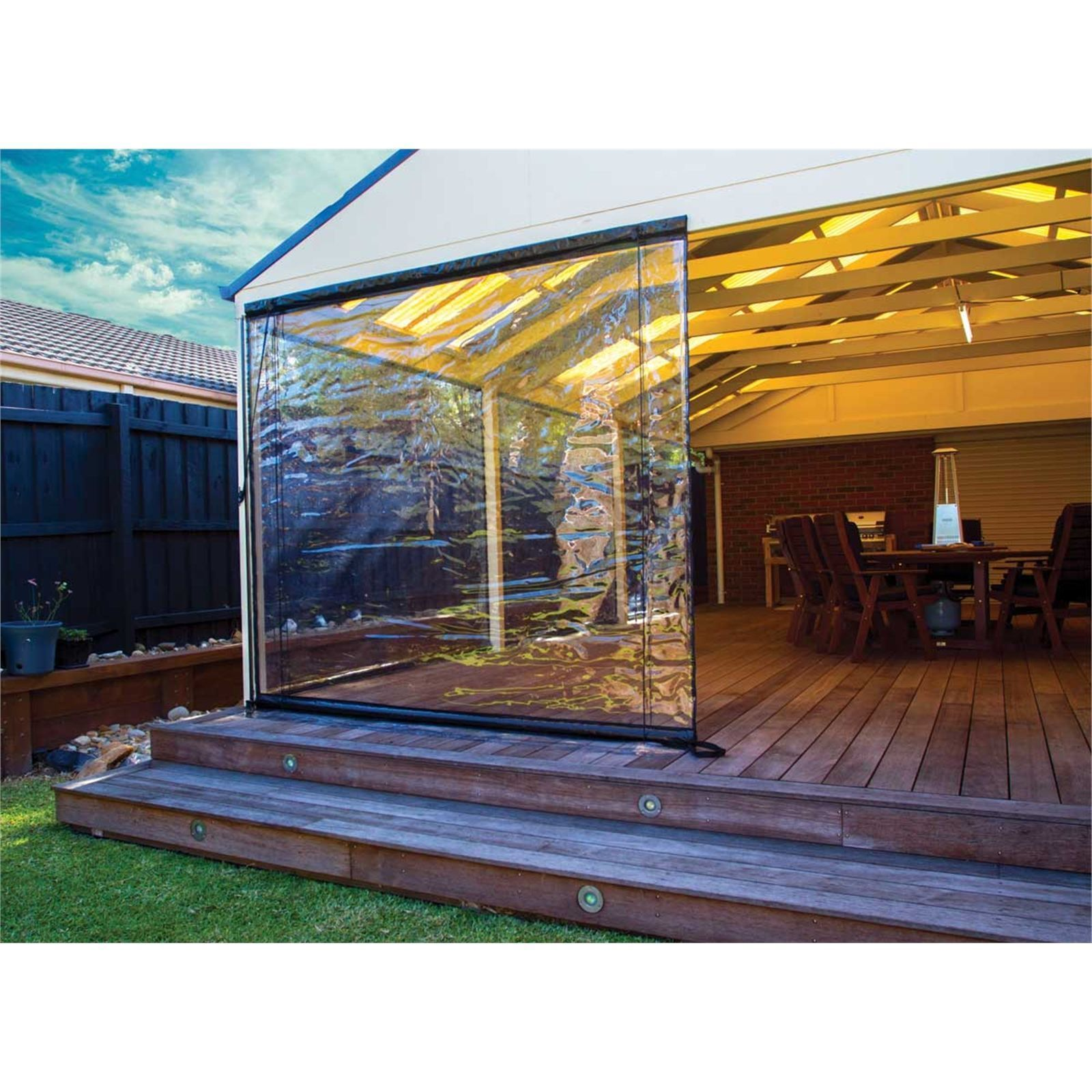 Bistro Blinds 150 X 240cm Clear Pvc Outdoor Blind Bunnings