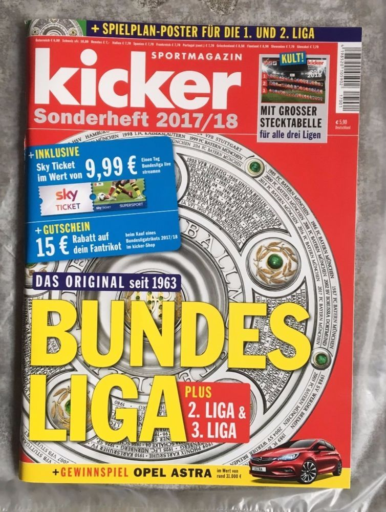 Kicker Sportmagazin Bundesliga 034 Sonderheft 2017 18 034 Neu Bundesliga Kicker Bundesliga Tabelle