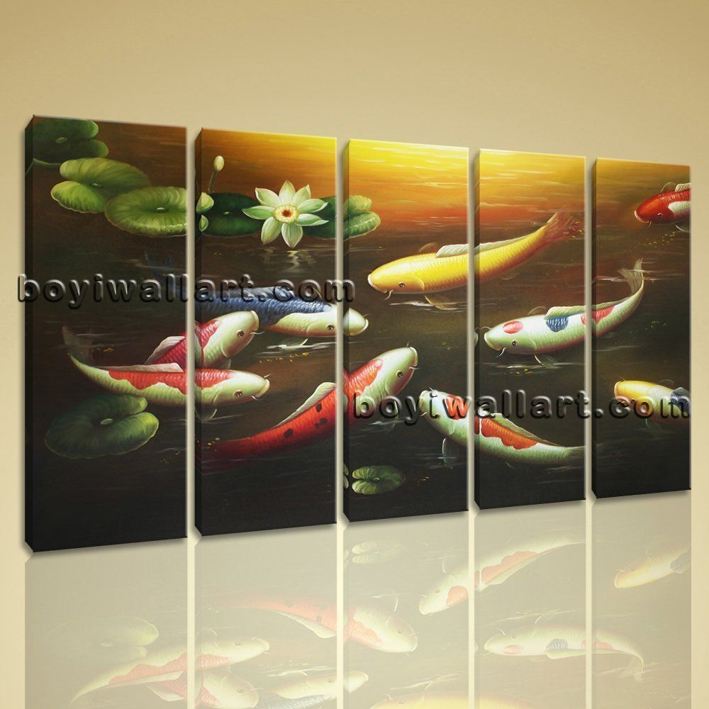 large koi fish painting feng shui contemporary canvas wall art