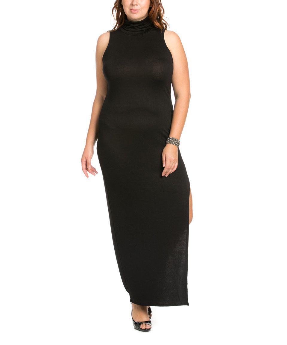 Love this k glam black sideslit turtleneck maxi dress plus by k