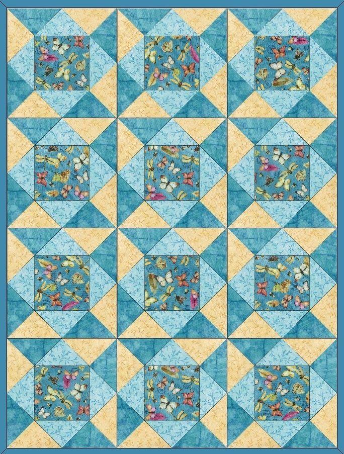 Butterflies French Blue Pre-Cut Quilt Blocks Kit | Quilt Patterns ...
