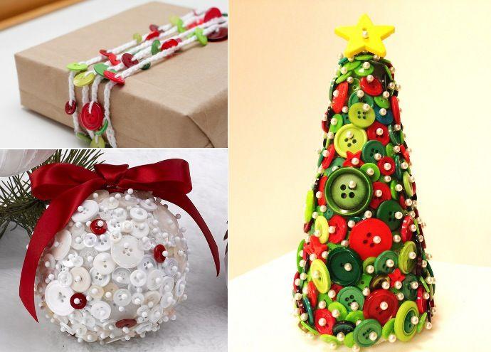 Guirnalda de navidad de botones arbol de navidad de botones bola de botones navidad - Guirnaldas navidad manualidades ...