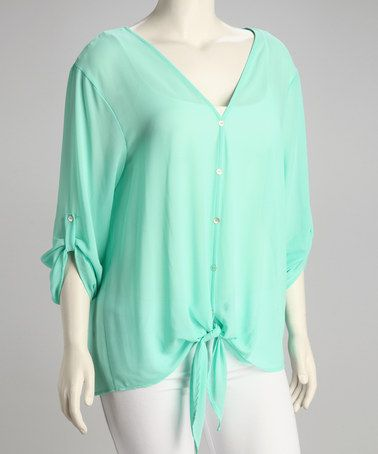 Take a look at this Mint Sheer V-Neck Plus-Size Button-Up Top by Tua Plus on #zulily today!