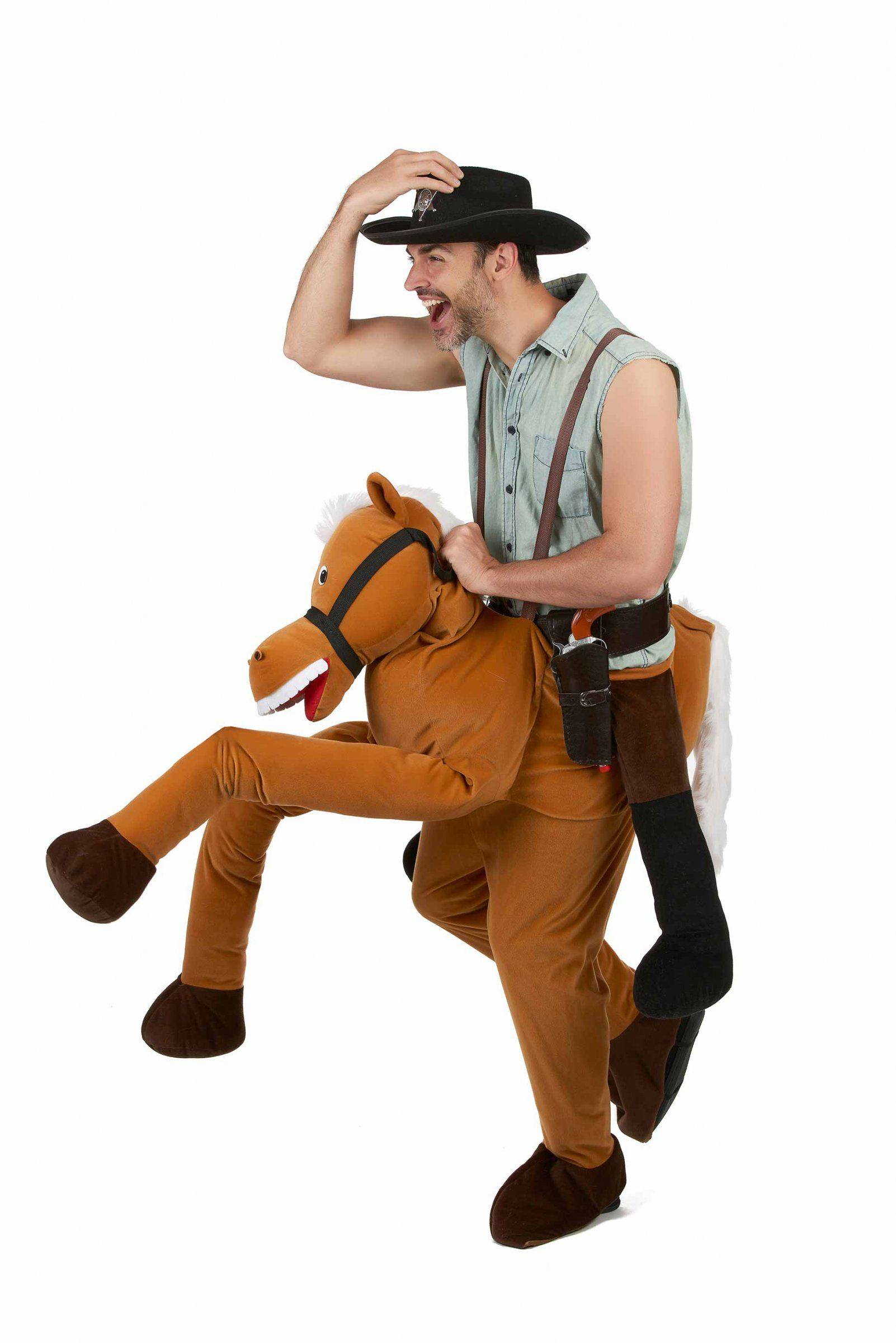 Horse Carry Me Costume for Adults  This horse carry me costume for adults  includes trousers in the shape of a horse. The trousers are secured by two  ... d04a5bd3ac609