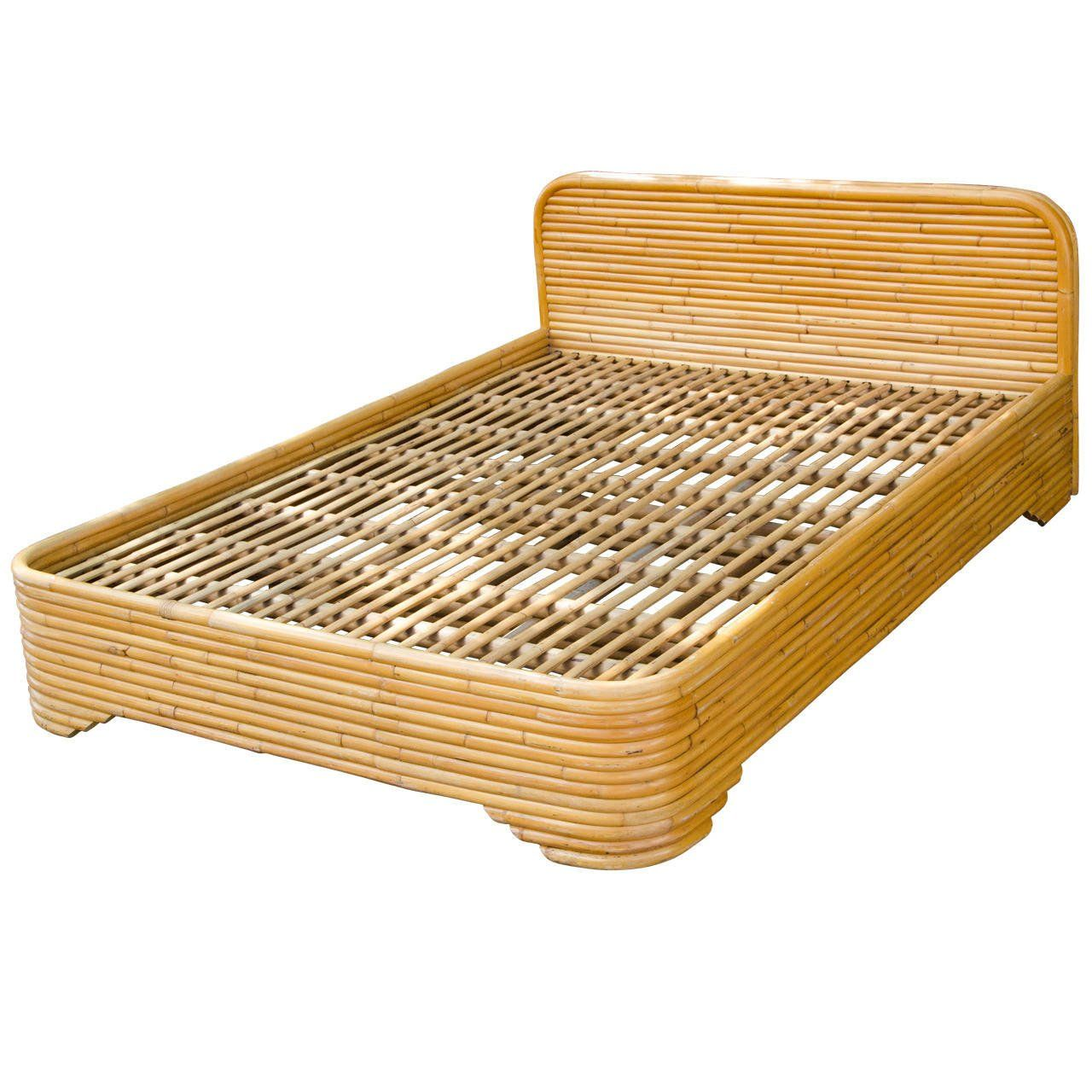 Mid Century Rattan Bed Frame With Full Or Double Headboard 1