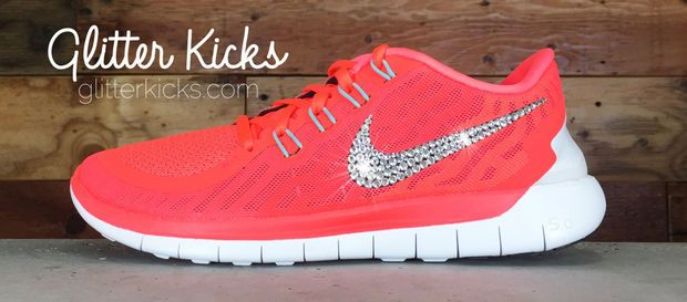 Women s Nike Free 5.0 Running Shoes By Glitter Kicks - Hand Customized With Swarovski  Crystal Rhinestones - Hot Lava Bright Crimson Black db01b23a090e