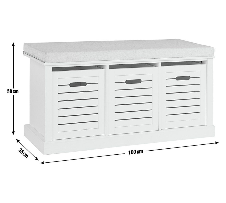 Buy Argos Home Hereford Storage Bench White Shoe Storage