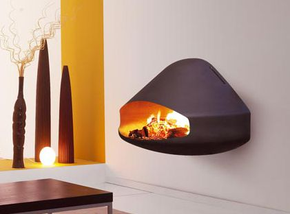 Wall Mounted Fireplace Compact Wood Burning Design Miofocus By Focus