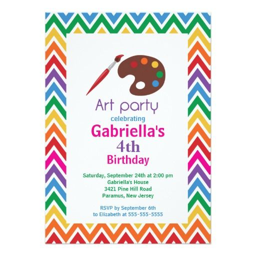 Arts crafts kids paint birthday party 5x7 paper invitation card arts crafts kids paint birthday party 5x7 paper invitation card bookmarktalkfo