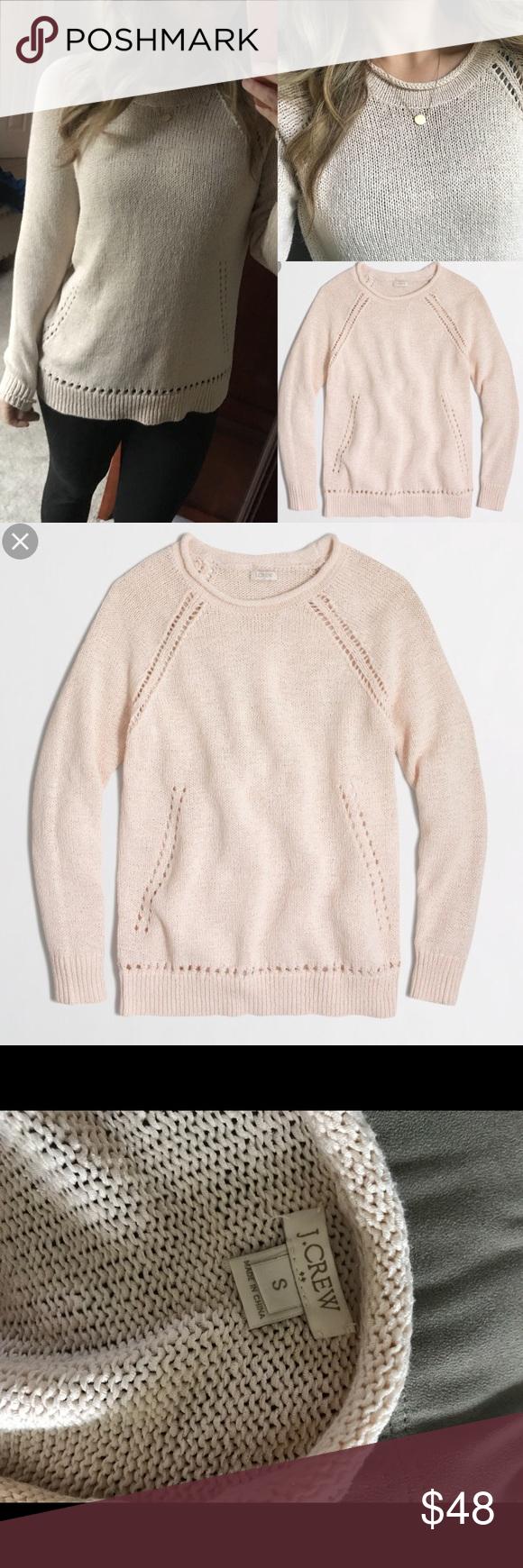 3e879cc34b Jcrew beach pointelle sweater sand s knit Jcrew factory beach sweater with pointelle  details in a pretty light sand pinkish tone. Worn a few times.