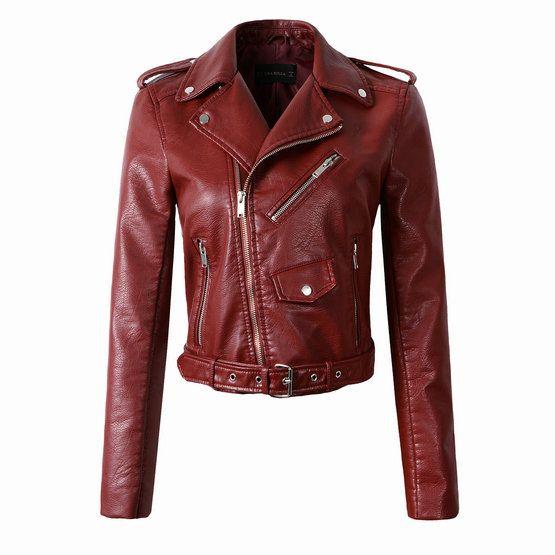 Tienda Online 2018 nuevas mujeres Otoño Invierno vino rojo Faux cuero  Chaquetas señora bomber motocicleta abrigo 51fa9aaf79a3