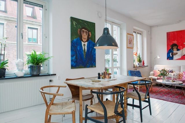 Cozy Swedish Apartment With A Humorous Character DigsDigs